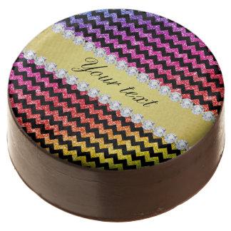Faux Rainbow Neon Glitter Chevrons Diamonds Black Chocolate Dipped Oreo