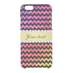 Faux Rainbow Neon Glitter Chevrons Diamonds Black Clear iPhone 6/6S Case