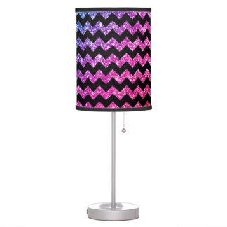 Faux Rainbow Neon Glitter Chevrons Diamonds Black Desk Lamp