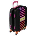 Faux Rainbow Neon Glitter Chevrons Diamonds Black Luggage