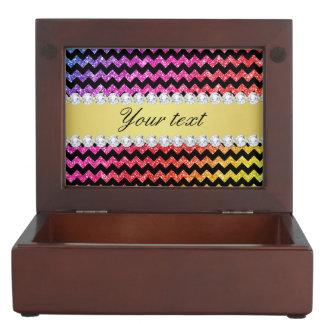 Faux Rainbow Neon Glitter Chevrons Diamonds Black Memory Box