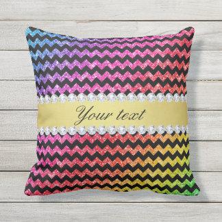 Faux Rainbow Neon Glitter Chevrons Diamonds Black Outdoor Pillow