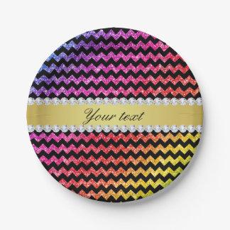 Faux Rainbow Neon Glitter Chevrons Diamonds Black Paper Plate