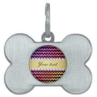 Faux Rainbow Neon Glitter Chevrons Diamonds Black Pet ID Tag