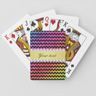Faux Rainbow Neon Glitter Chevrons Diamonds Black Playing Cards