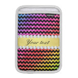 Faux Rainbow Neon Glitter Chevrons Diamonds Black Sleeve For iPad Mini
