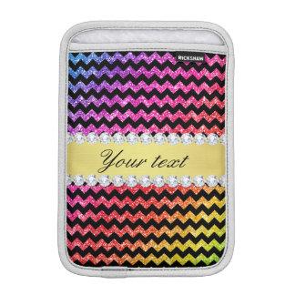Faux Rainbow Neon Glitter Chevrons Diamonds Black Sleeve For iPad Mini