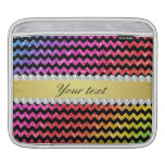 Faux Rainbow Neon Glitter Chevrons Diamonds Black Sleeve For iPads