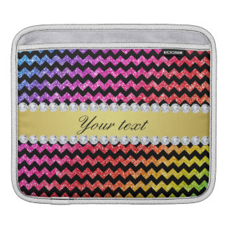 Faux Rainbow Neon Glitter Chevrons Diamonds Black Sleeve For iPads