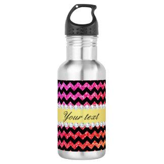Faux Rainbow Neon Glitter Chevrons Diamonds Black Stainless Steel Water Bottle
