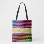 Faux Rainbow Neon Glitter Chevrons Diamonds Black Tote Bag