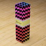 Faux Rainbow Neon Glitter Chevrons Diamonds Black Wine Gift Box