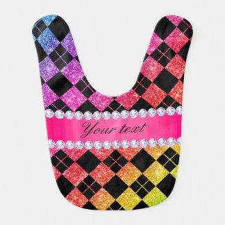 Faux Rainbow Neon Glitter Diamonds Black Baby Bib