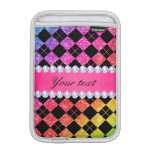 Faux Rainbow Neon Glitter Diamonds Black iPad Mini Sleeve