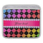 Faux Rainbow Neon Glitter Diamonds Black iPad Sleeve