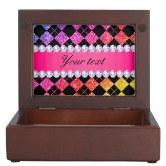 Faux Rainbow Neon Glitter Diamonds Black Keepsake Box