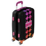 Faux Rainbow Neon Glitter Diamonds Black Luggage