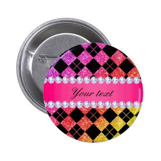 Faux Rainbow Neon Glitter Diamonds Black Pinback Button