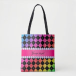 Faux Rainbow Neon Glitter Diamonds Black Tote Bag