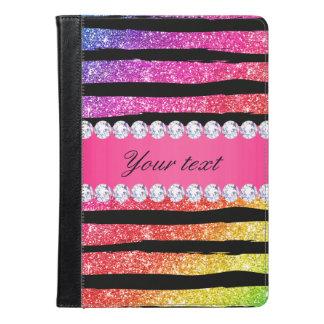 Faux Rainbow Neon Glitter Stripes Diamonds Black iPad Air Case