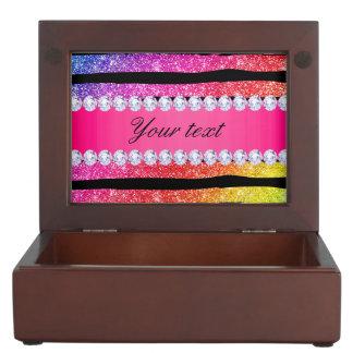 Faux Rainbow Neon Glitter Stripes Diamonds Black Memory Box