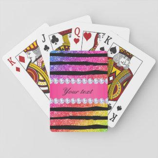 Faux Rainbow Neon Glitter Stripes Diamonds Black Playing Cards