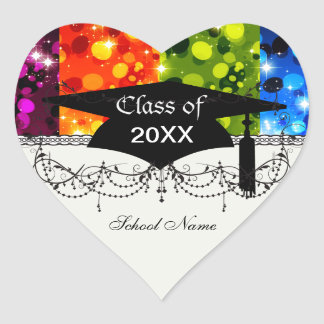 faux rainbow sparkle glitter graduation heart sticker