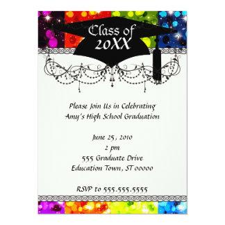 faux rainbow sparkle glitter graduation 5.5x7.5 paper invitation card
