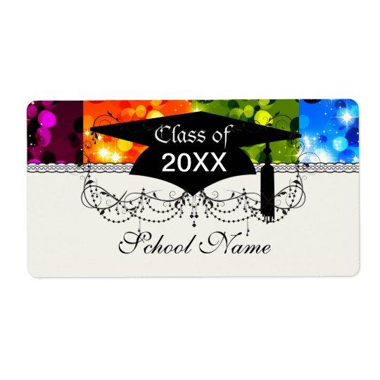 faux rainbow sparkle glitter graduation label