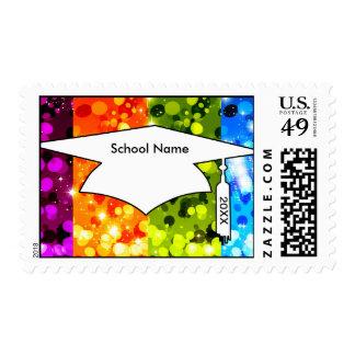 faux rainbow sparkle glitter graduation postage