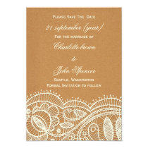 FAUX Recycle Paper, Ivory Lace save the Date Card