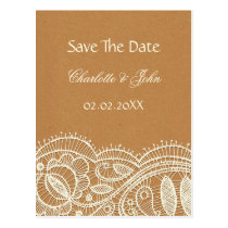 FAUX Recycle Paper, Ivory Lace save the Date Postcard
