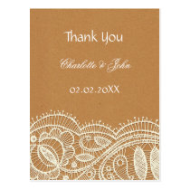 Faux Recycle Paper, Ivory Lace wedding Thank You Postcard
