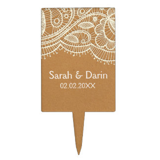 Faux Recycle Paper, lace personalized cake pick