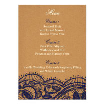 Faux Recycle Paper, lace rustic wedding menu cards
