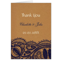 Faux Recycle Paper, lace rustic wedding Thank You Card