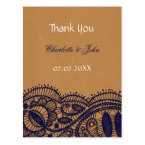 Faux Recycle Paper, Lace wedding Thank You Postcard