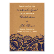FAUX Recycle Paper, navy blue Lace save the Date Card