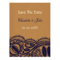 FAUX Recycle Paper, navy blue Lace save the Date Postcard