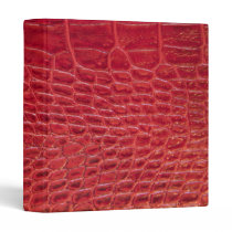 Faux red alligator leather 3 ring binder