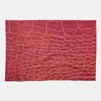 Faux red alligator leather hand towel