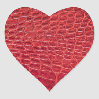 Faux red alligator leather heart sticker