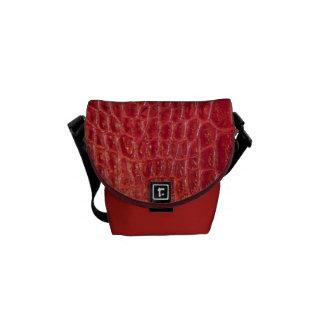 Faux red alligator leather messenger bag