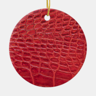 Faux red alligator leather christmas ornaments