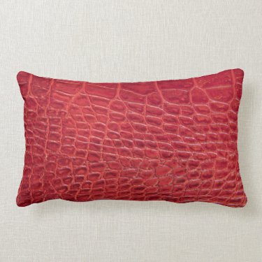 Faux red alligator leather pillow