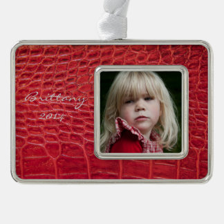 Faux red alligator leather silver plated framed ornament