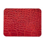 Faux red alligator leather rectangular photo magnet