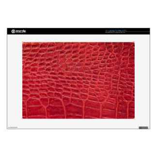 Faux red alligator leather laptop decal