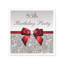 Faux Red Bow Sequins Diamond Any Age Birthday Napkin