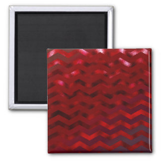 Faux Red Burgundy Black Foil Texture Chevron Magnet